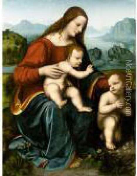 The Madonna And Child With The Infant Saint John The Baptist Oil Painting - Leonardo Da Vinci