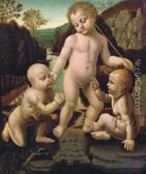 The Christ Child With The Infant Saint John The Baptist With An Unidentified Male Child Oil Painting - Leonardo Da Vinci