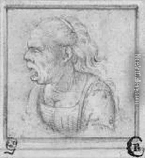 Caricature Of An Old Woman In Profile To The Left,bust-length Oil Painting - Leonardo Da Vinci