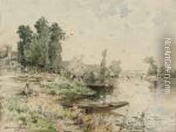 The Riverside On A Summer's Day, A Village Beyond Oil Painting - Maurice Levis
