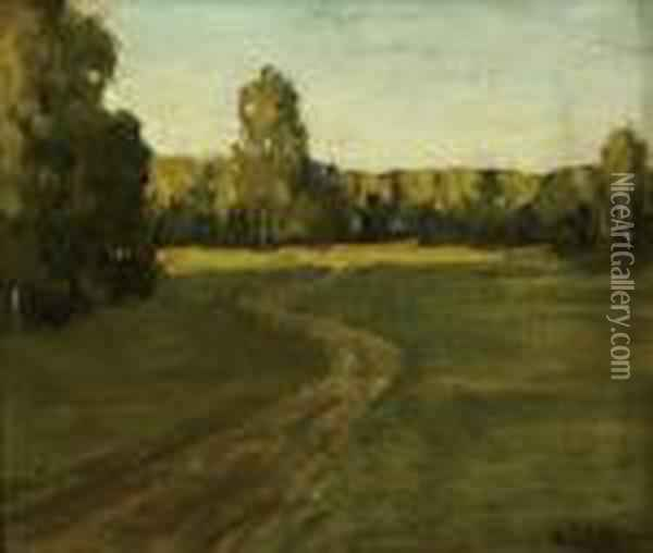 Road In A Wood Oil Painting - Isaak Ilyich Levitan