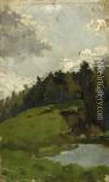 Hillside Topped By Forests Oil Painting - Isaak Ilyich Levitan