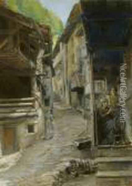 Laneway In The French Alps Oil Painting - Leon Augustin Lhermitte