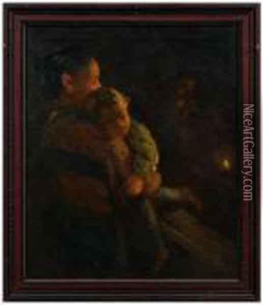 Mother Holding A Child Lit By Candlelight Oil Painting - Leon Augustin Lhermitte