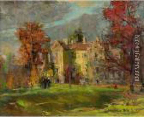 Country Estate Oil Painting - Leon Augustin Lhermitte