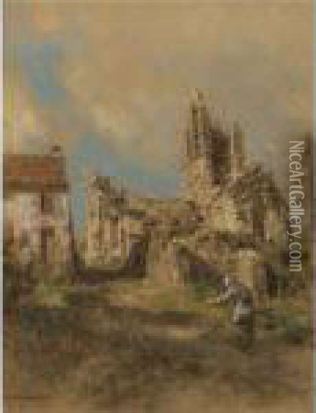 The Church In Sunlight Oil Painting - Leon Augustin Lhermitte