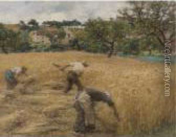 Cutting Wheat Oil Painting - Leon Augustin Lhermitte