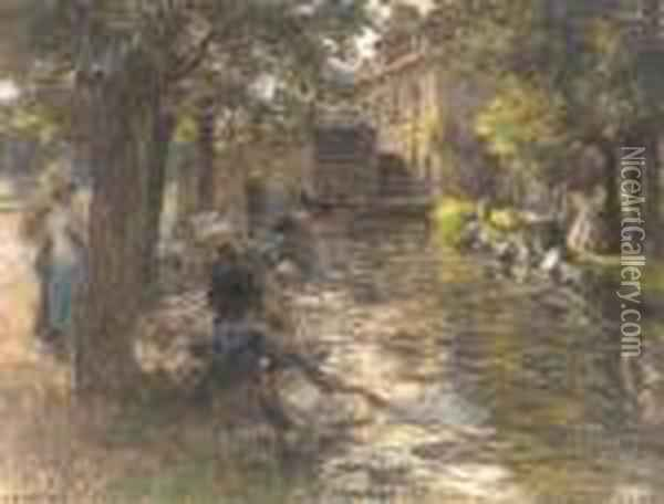 Washerwomen On The Banks Of A River Oil Painting - Leon Augustin Lhermitte