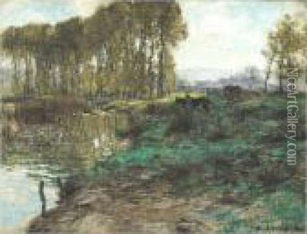 Marne A Mezy Oil Painting - Leon Augustin Lhermitte