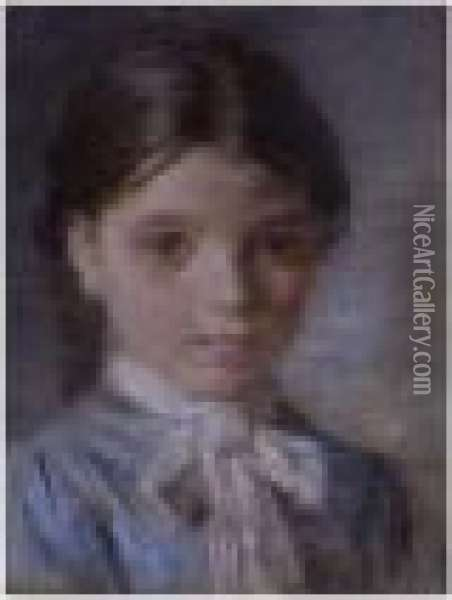 Portrait Of A Young Girl Oil Painting - Leon Augustin Lhermitte
