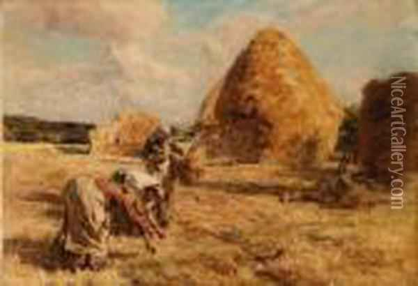Glaneuses Prs Des Meules (gleaners Near The Haystacks) Oil Painting - Leon Augustin Lhermitte