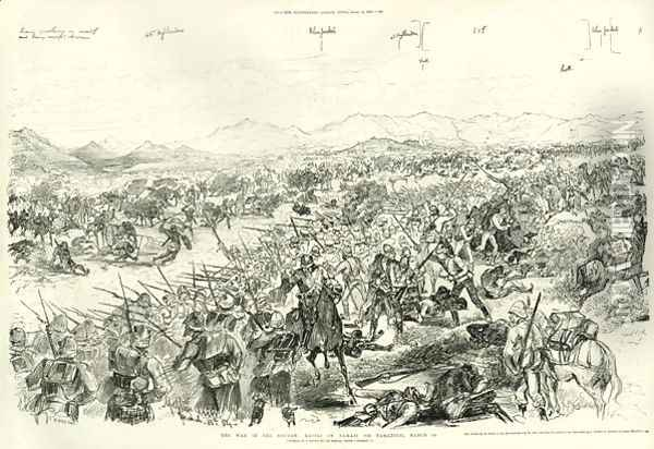 The Battle of Tamai on 13th March 1884, 1884 Oil Painting - Melton Prior