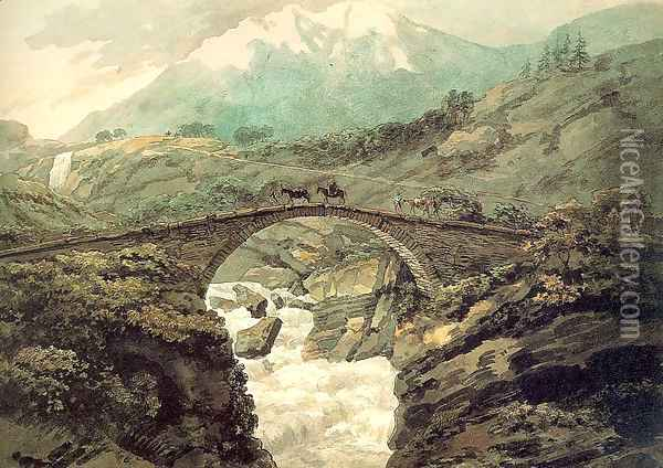 Bridge near Mount Grimsel 1770 Oil Painting - William Pars