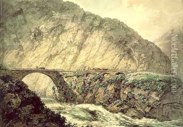 The Devil's Bridge in the Canton of Uri 1770 Oil Painting - William Pars
