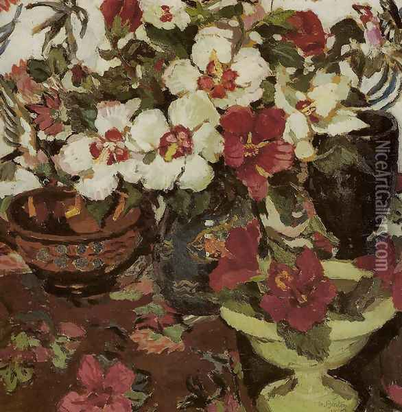 White and Red Hibiscus Oil Painting - Margaret Preston