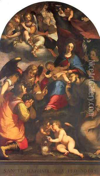 Madonna and Child with Saints and the Archangel Raphael Oil Painting - Giovanni Battista Paggi