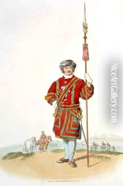Yeoman of the Kings Guard, from Costume of Great Britain, published by William Miller, 1805 Oil Painting - William Henry Pyne