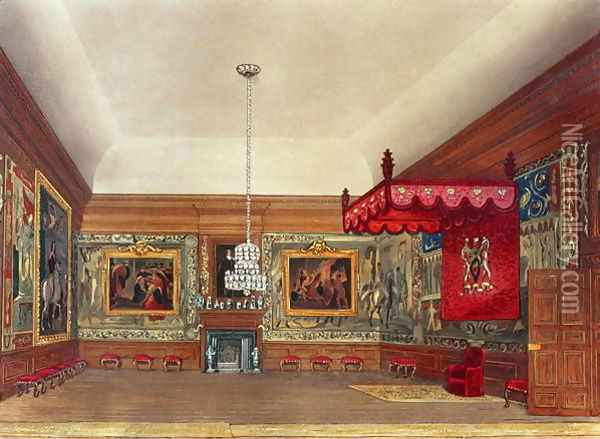 The Throne Room, Hampton Court from Pynes Royal Residences, 1818 Oil Painting - William Henry Pyne