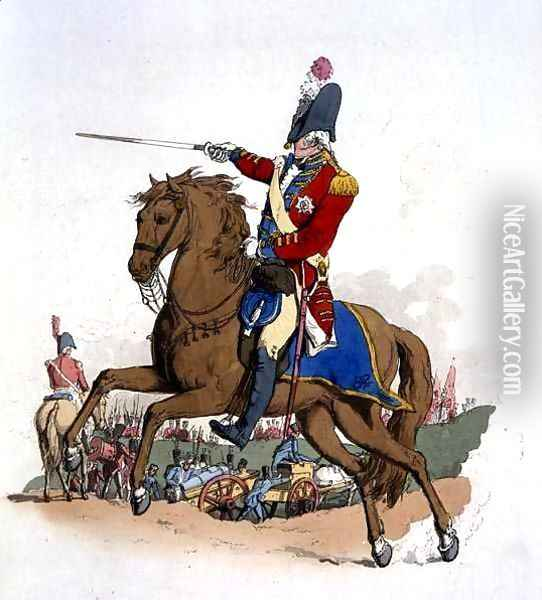 General Officer on Horseback, from Costume of Great Britain, published by William Miller, 1805 Oil Painting - William Henry Pyne