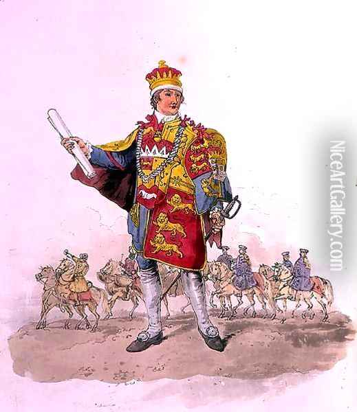 Herald, from Costume of Great Britain, published by William Miller, 1805 Oil Painting - William Henry Pyne