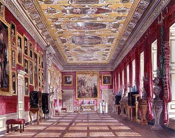 The Kings Gallery, Kensington Palace from Pynes Royal Residences, 1818 Oil Painting - William Henry Pyne