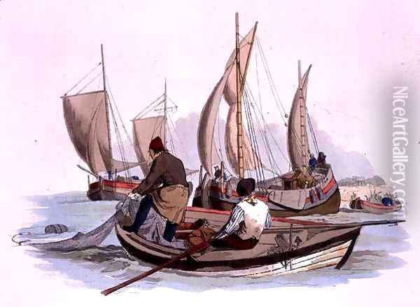 British Fishermen, from Costume of Great Britain, published by William Miller, 1805 Oil Painting - William Henry Pyne