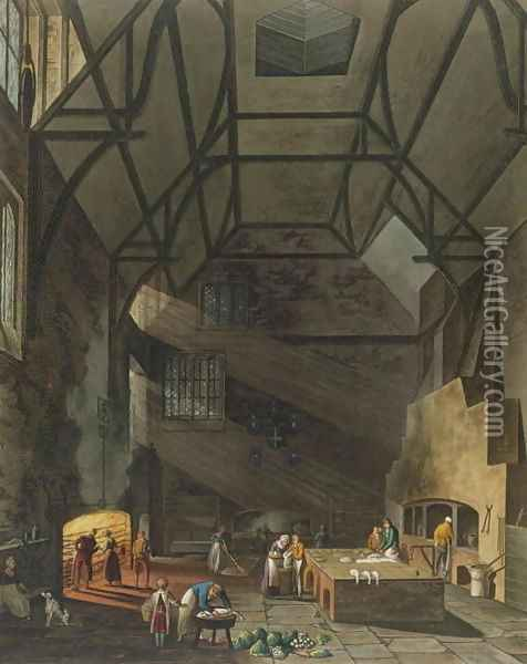 Interior of the Kitchen, Trinity College, Cambridge, from 'The History of Cambridge', engraved by Joseph Constantine Stadler fl.1780-1812, pub. by R. Ackermann, 1815 Oil Painting - William Henry Pyne