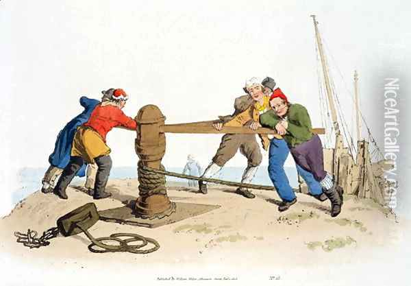 Fishermen at a Capstan, from Costume of Great Britain, published by William Miller, 1805 Oil Painting - William Henry Pyne