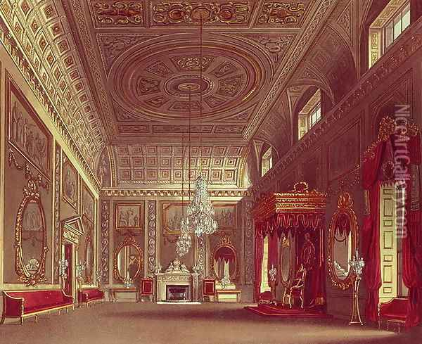 The Saloon, Buckingham Palace from Pynes Royal Residences, 1818 Oil Painting - William Henry Pyne