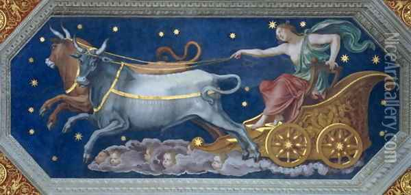 The Nymph Callisto on Jupiters Chariot, ceiling decoration from the Sala di Galatea, 1511-12 Oil Painting - Baldassare Peruzzi
