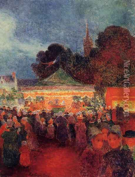 Carnival at Night in Croisic Oil Painting - Ferdinand Loyen Du Puigaudeau