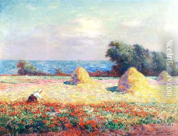 Stacks of Hay and Field of Poppies Oil Painting - Ferdinand Loyen Du Puigaudeau