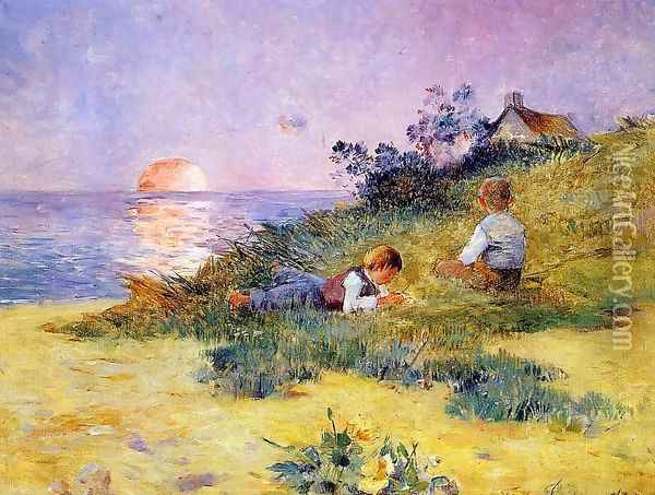 Children on a Dune Oil Painting - Ferdinand Loyen Du Puigaudeau