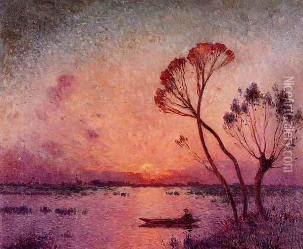 Sunset at Briere Oil Painting - Ferdinand Loyen Du Puigaudeau