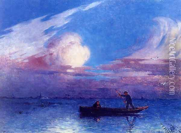Boating at Night in Briere Oil Painting - Ferdinand Loyen Du Puigaudeau