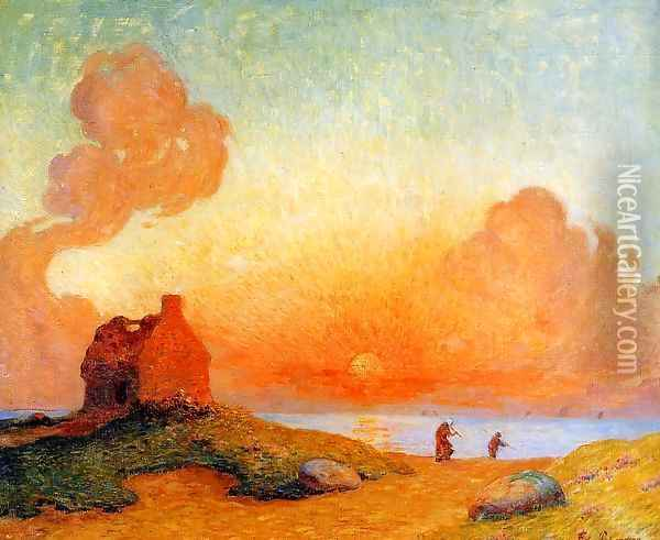 Sunset by the Sea, Brittany Oil Painting - Ferdinand Loyen Du Puigaudeau