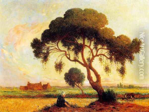 Breton Woman Seated under a Large Tree Oil Painting - Ferdinand Loyen Du Puigaudeau