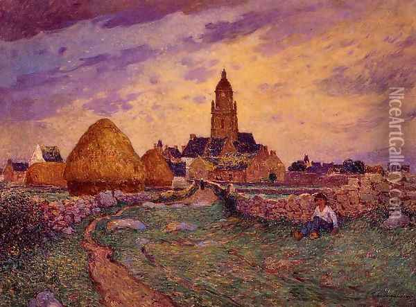 Path in Front of the Church of Croisic Oil Painting - Ferdinand Loyen Du Puigaudeau