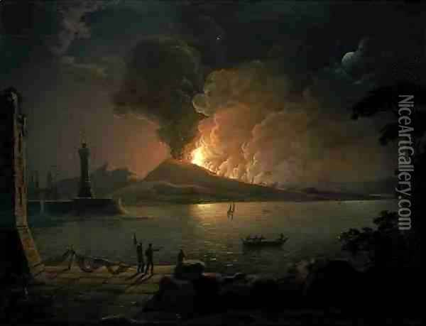 A View of Mount Vesuvius Erupting Oil Painting - Abraham Pether