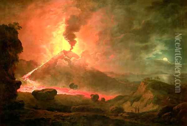 The Eruption of Vesuvius Oil Painting - Abraham Pether