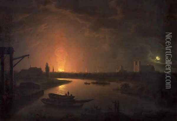 The Burning of Old Drury Lane Theatre, February 24 1809 Oil Painting - Abraham Pether