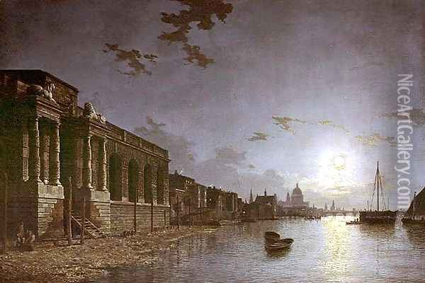 A View of the Thames Oil Painting - Abraham Pether