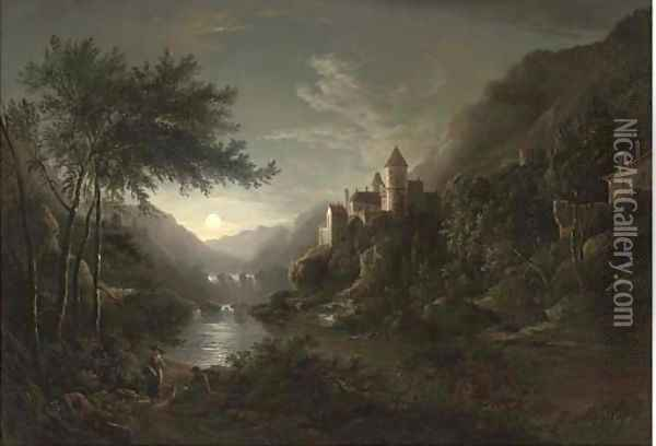 Figures beside a moonlit river with a castle on a hillside Oil Painting - Abraham Pether