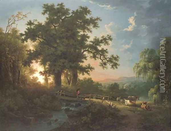 A wooded river landscape, with a faggot gatherer on a bridge, cattle and sheep Oil Painting - Abraham Pether