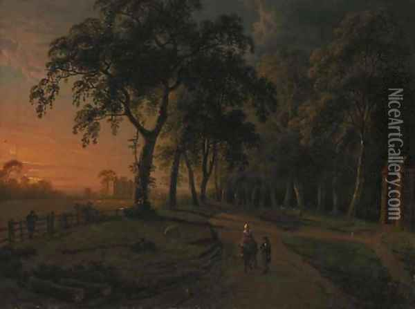 Figures on a parkland track with a country house beyond Oil Painting - Abraham Pether