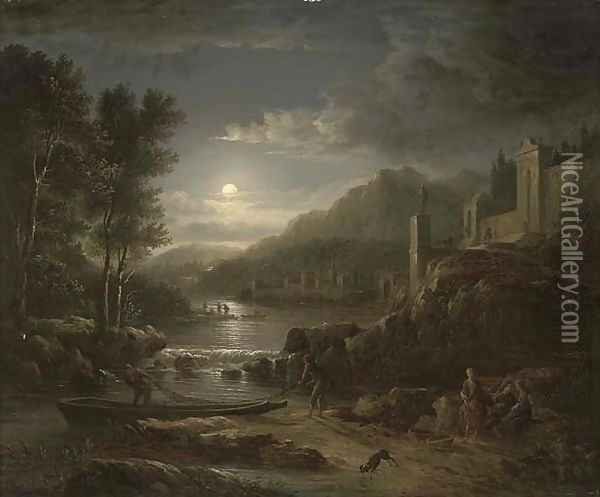 Fishermen along a river by moonlight Oil Painting - Abraham Pether