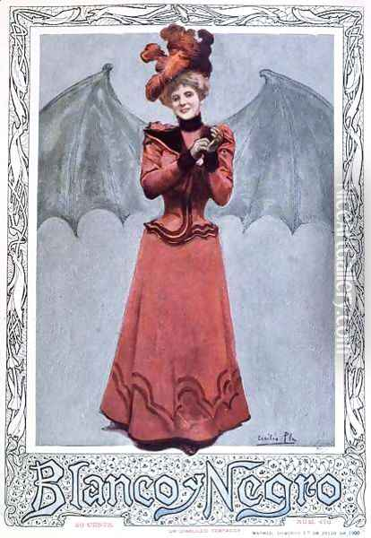 The Devilish Temptress, from the front cover of Blanco y Negro magazine, 1st July 1900 Oil Painting - Cecillio Pla Y Gallardo