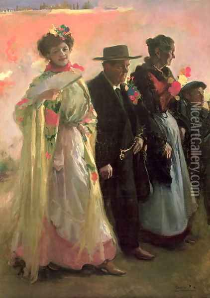 Villagers attending the celebrations of the patron of Madrid Oil Painting - Cecillio Pla Y Gallardo
