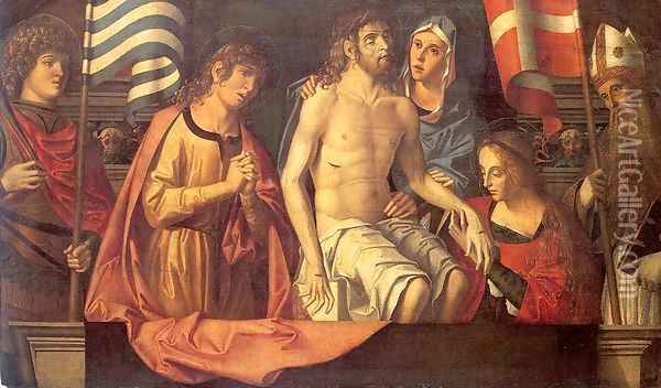 The Dead Christ in the Tomb with the Virgin Mary & Saints 1506 Oil Painting - Marco Palmezzano