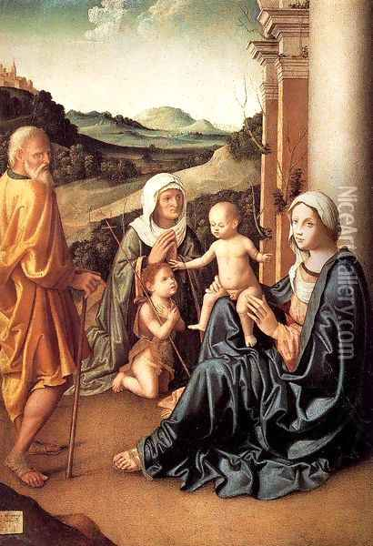 Holy Family with Saint Elizabeth and the Infant Saint John 1515 Oil Painting - Marco Palmezzano